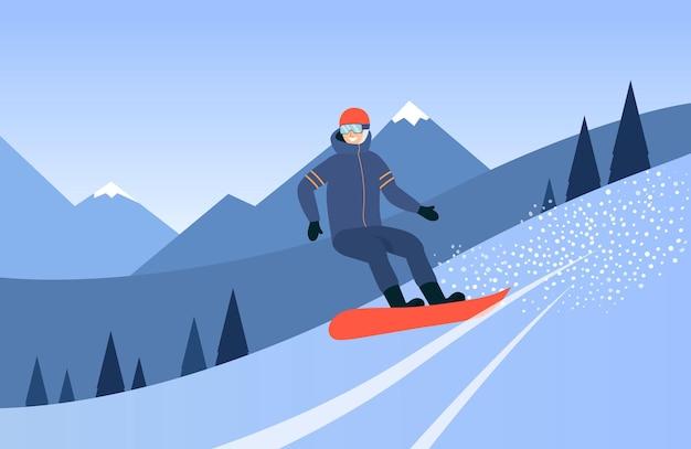 白地に山フラットイラストでスノーボード男