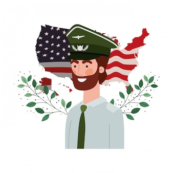Man soldier of war with flag of united states