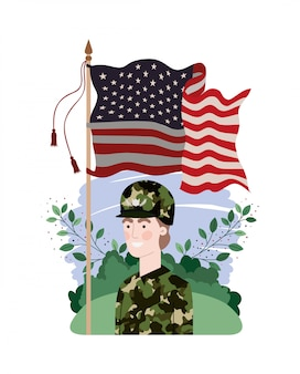 Man soldier of war with landscape and united states flag
