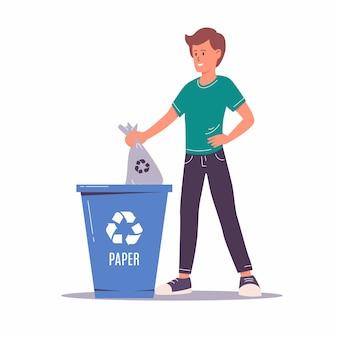 쓰레기를 분류하는 남자. 환경을 생각하고 재활용 및 재사용을 위해 쓰레기통, 쓰레기 수거통 또는 용기에 쓰레기를 넣는 행복한 남자 캐릭터. 제로 웨이스트 개념