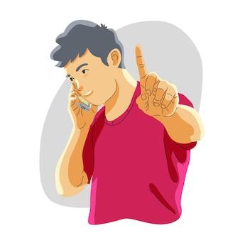 男は電話で話し、邪魔されないように頼みます。ちょっと待って、静かにして沈黙を守ってください