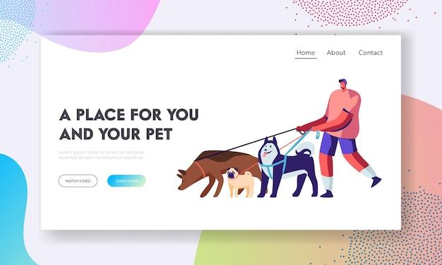 男は屋外でペットと過ごす時間。犬のチームと一緒に歩く男性キャラクター、リラックス、レジャー、コミュニケーション、愛、動物の世話。ウェブサイトのランディングページ、ウェブページ。漫画フラットベクトルイラスト