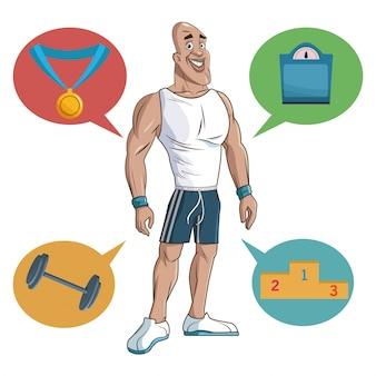 남자 스포츠 근육 강한