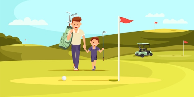 Man in sport suit with golf clubs walking with son