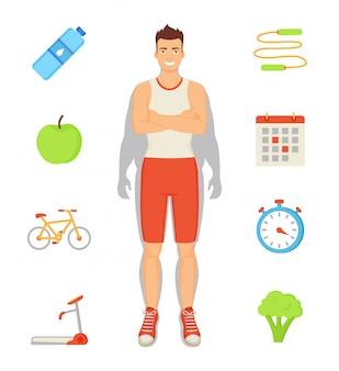 Man sportive activities set illustration