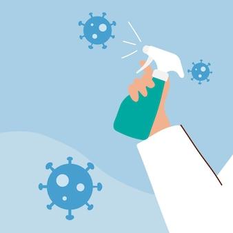 Мужчина распыляет алкоголь, чтобы предотвратить заражение вектором коронавируса