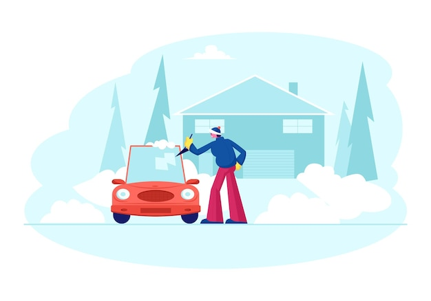 Man stand at auto parked near of cottage cleaning car window with spade from ice and snow at winter time. cartoon flat illustration