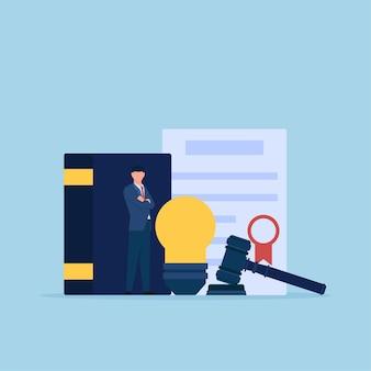 Человек стоит перед метафорой колбы, сертификата и молотка патентного права.