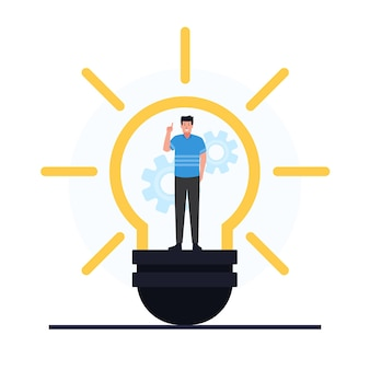 Man stand inside the bulb metaphor of problem solving.