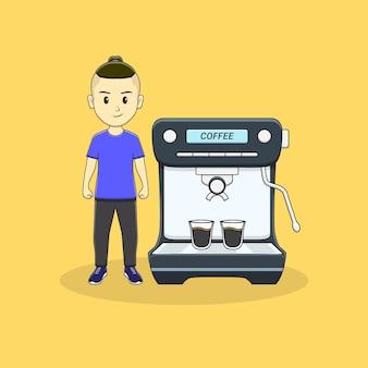 男はコーヒーマシンで立つ