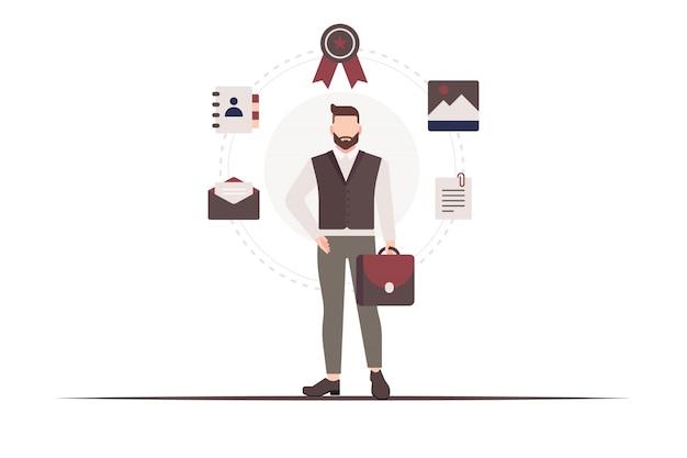 Мужчина стоит и держит портфель