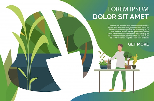 テーブルに立って、鉢植えの観葉植物、サンプルテキスト