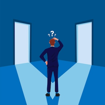 Man standing confused in front of two doors businessman career decision symbol illustration vector