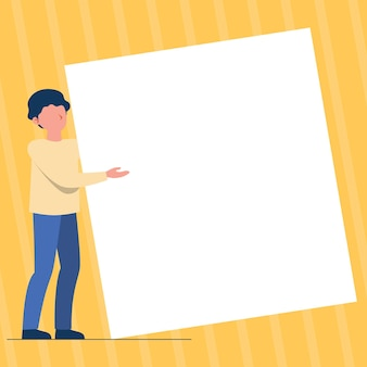 Man standing drawing holding presenting huge blank paper gentleman stands carrying large empty