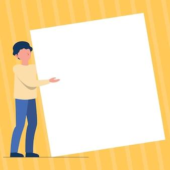巨大な白紙の紳士が大きな空を運んで立っている提示を保持している図面を立っている男