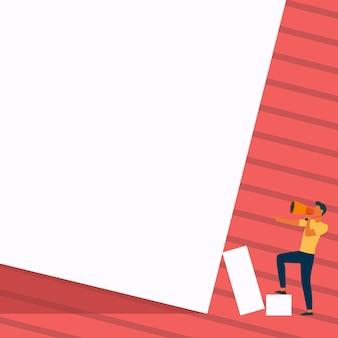남자 서 있는 상자에 한 발을 그리기 빈 벽 신사 디자인을 가리키는 확성기를 들고