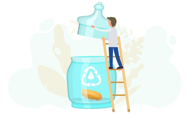 A man standing on a ladder lifts the lid of a glass jar with a recycling logo and a wooden clothes brush inside.