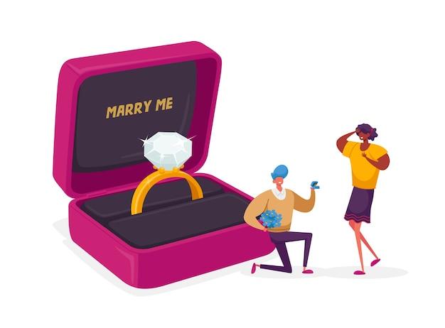 Мужчина стоит на коленях и держит кольцо в коробке, делая предложение женщине