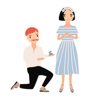 Мужчина стоит на одном колене перед женщиной и делает ей предложение руки и сердца. прелестная молодая влюбленная пара. симпатичные герои мультфильмов изолированы