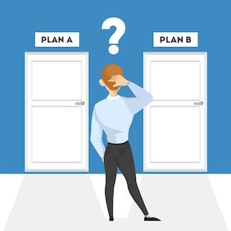 岐路に立って考えている人。スーツのビジネスマンは道の方向を選択します。将来の戦略の選択が難しい。ベクトルアイソメ図