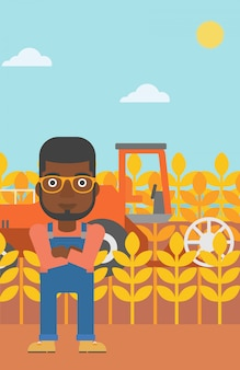 Man standing with combine