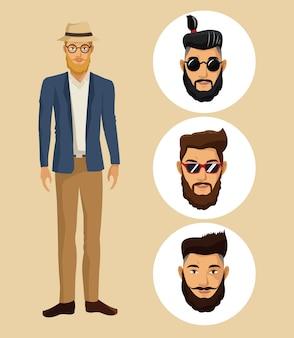 帽子、メガネ、ヒップスター、ひげ、顔、男性