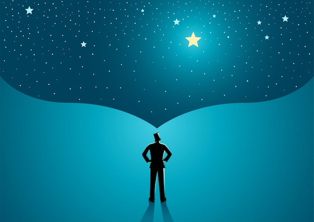 그의 큰 꿈의 표현으로 그 위에 열린 공간에 서있는 남자