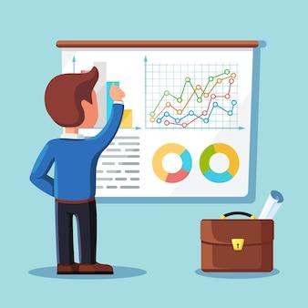 남자는 칠판에 서있다. 비즈니스 분석, 데이터 분석, 연구 통계, 계획. 그래프, 차트, 칠판에 다이어그램. 사람들은 분석, 계획 개발, 마케팅. 평면 디자인