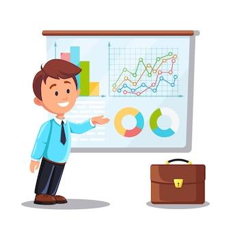 남자는 칠판에 서있다. 비즈니스 분석, 데이터 분석, 연구 통계, 계획. 그래프, 차트, 칠판에 다이어그램. 사람들은 분석, 계획 개발, 마케팅. 벡터 평면 디자인