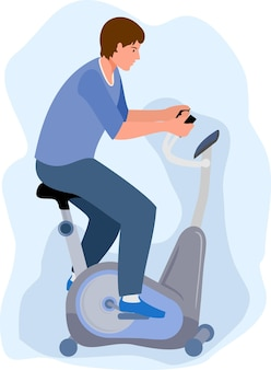 Man on a stationary bike sports workout at home or in gym or in a rehabilitation sport exercise
