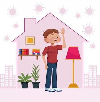 Man stay at home inside house
