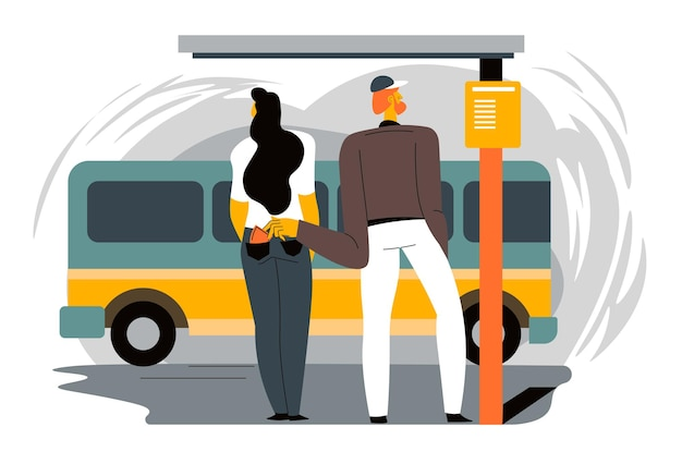 Man stealing wallet from pocket of jeans of female character standing on bus stop. victim of robbery or theft in big city. thief acting accurate and quiet, unsafe situation. vector in flat style
