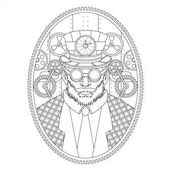 Man steampunk illustration lineal style