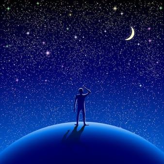 남자는 별이 빛나는 하늘을보고 서 있었다