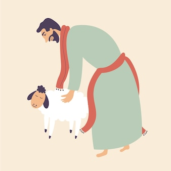 Man stroked sheep  brings sacrifice pet worship god