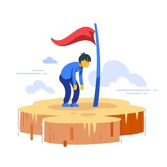 Man stuck in progress, loss of motivation, self growth illustration