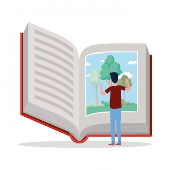 Man student reading book character