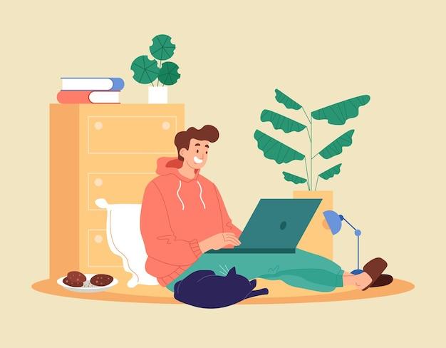 남자 학생 작업자 캐릭터는 집에 머물면서 학습 비디오를보고 일합니다. 프리랜서 먼 교육 개념.
