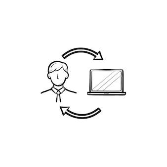 コンピューターでオンラインで勉強している男手描きのアウトライン落書きアイコン。白い背景で隔離の印刷物、ウェブ、モバイル、インフォグラフィックのラップトップコンピューターベクトルスケッチイラストを持つ学生。