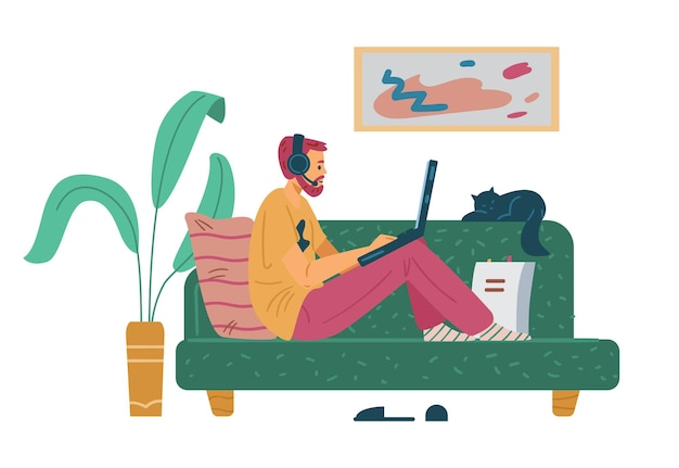 Man studying remotely sitting on couch flat vector illustration isolated