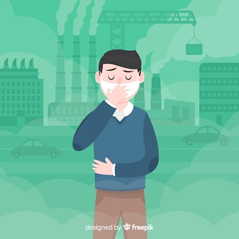 Man suffering contamination flat background