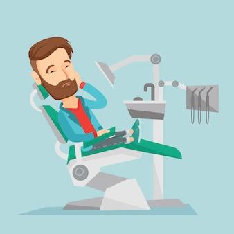 Man suffering in dental chair vector illustration.