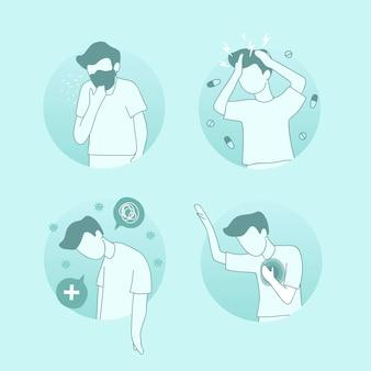 Человек, страдающий от вирусной инфекции covid 19, набор символов