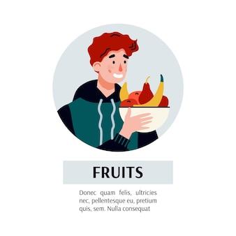 독감 바이러스로 고통 받고 과일 그릇을 들고있는 남자. 감기 증상이있는 아픈 만화 캐릭터는 비타민에 대한 면역력을 강화합니다. 평면 그림.