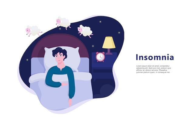 不眠症に苦しんでいる人。眠れない男
