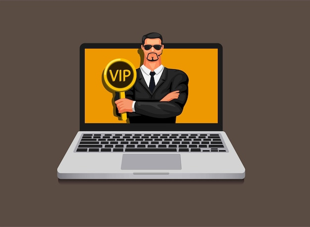 Man in suit holding vip sign exclusive member bodyguard avatar mascot concept in cartoon illustration