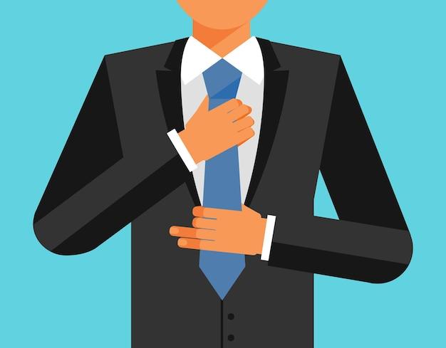 Man in suit is adjusting his tie, vector flat illustration