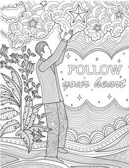 Man in suit standing raising hand reaching stars beside plants line drawing gentleman in suit