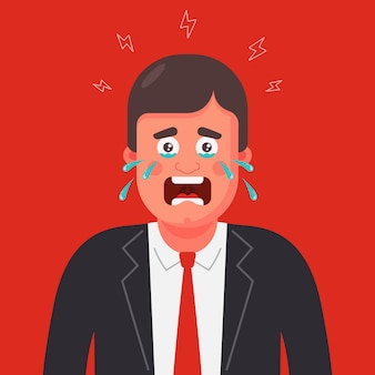 A man in a suit and tie is crying. panic attack illustration.