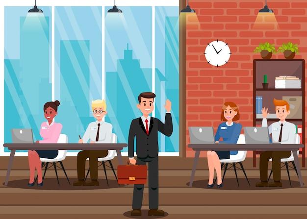 Man in suit at work cartoon vector illustration